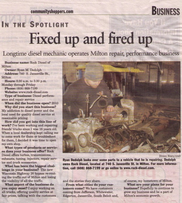 Rock Diesel of Milton, LLC news article